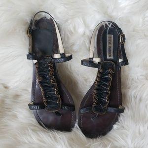 Steve Madden Black Strappy Zipper Flat Sandals